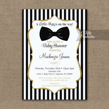 Bow Tie Baby Shower Black Gold Invitations PRINTED