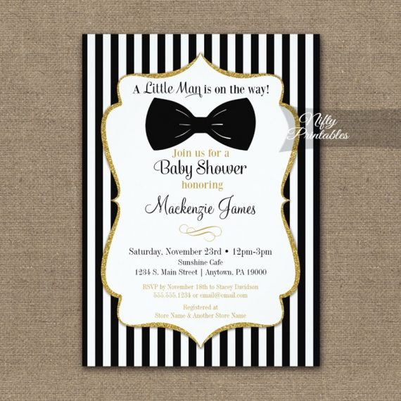 Bow Tie Baby Shower Black Gold Invitation PRINTED