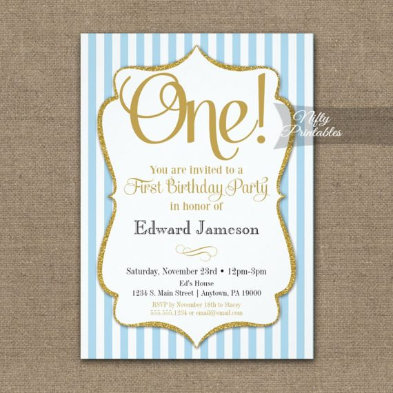 1st Birthday Invitation Blue Gold PRINTED