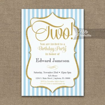 2nd Birthday Invitation Blue Gold PRINTED