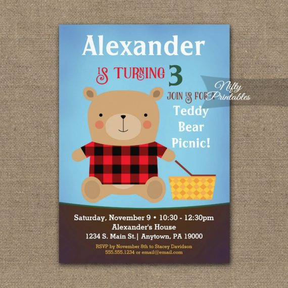Bear Birthday Invitation PRINTED