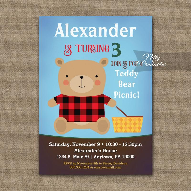 Bear Birthday Invitation PRINTED