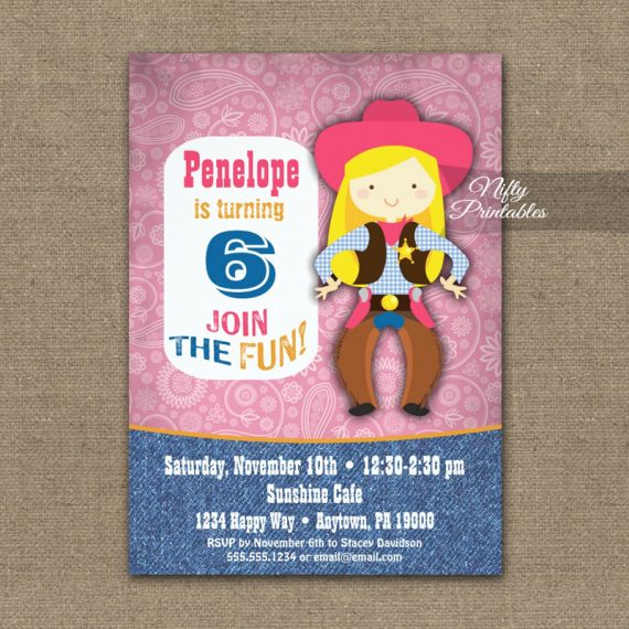 Cowgirl Birthday Invitation PRINTED