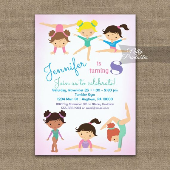 Gymnastics Birthday Invitation PRINTED