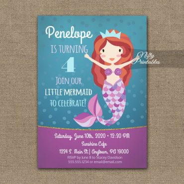 Mermaid Birthday Invitation PRINTED