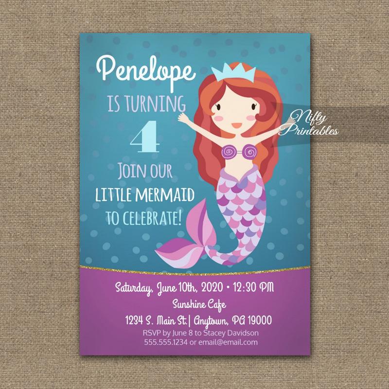 Mermaid Birthday Invitation PRINTED