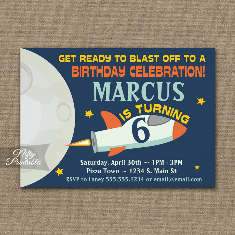 Outer Space Birthday Invitation PRINTED