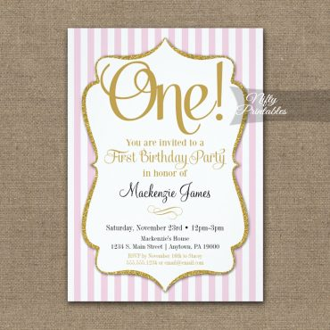 1st Birthday Invitation Pink Gold PRINTED