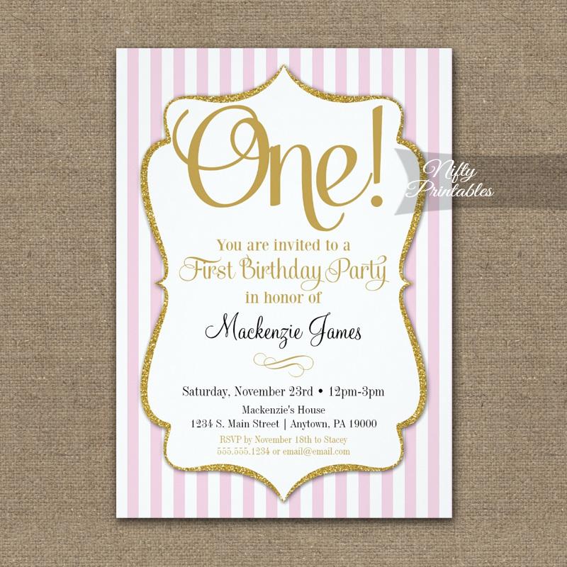 1st Birthday Invitation Pink Gold PRINTED