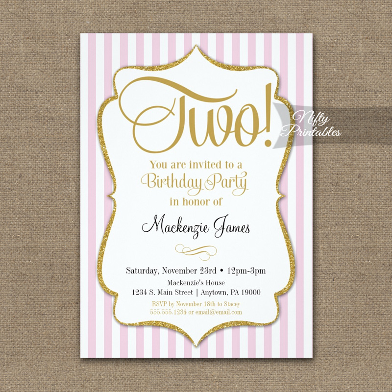 2nd Birthday Pink Gold Invitation PRINTED