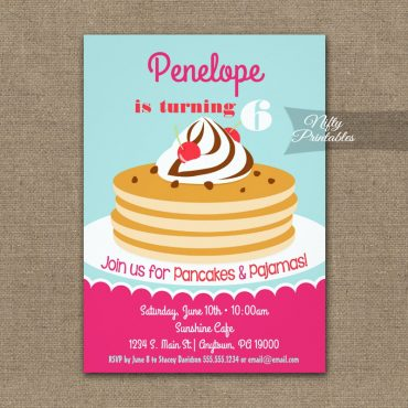 Pancakes Pajamas Birthday Invitation PRINTED