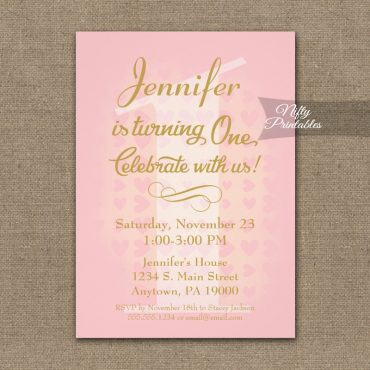 1st Birthday Invitation Pink Hearts PRINTED