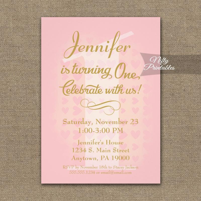 1st Birthday Invitation Pink Hearts PRINTED