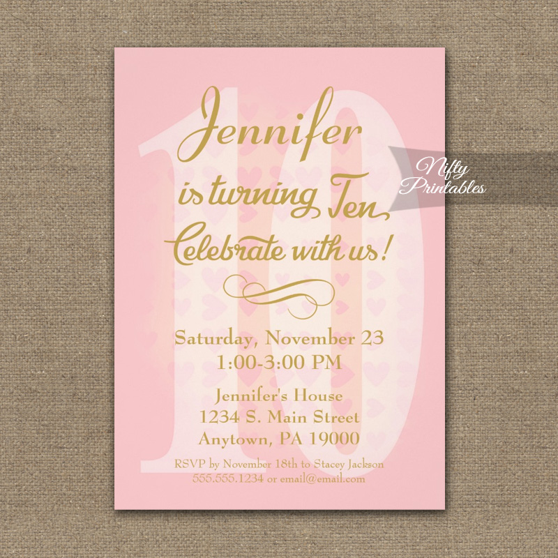 10th Birthday Invitation Pink Hearts PRINTED