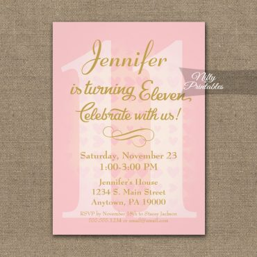11th Birthday Invitation Pink Hearts PRINTED