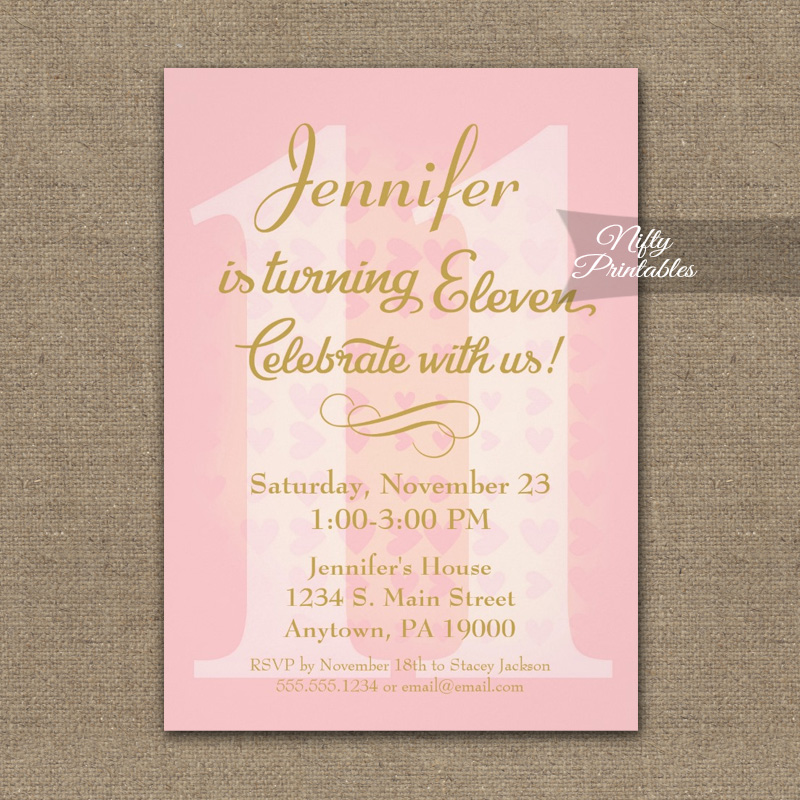 11th Birthday Invitation Pink Hearts PRINTED - Nifty ...