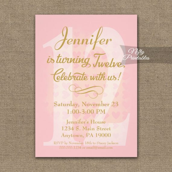 12th Birthday Invitation Pink Hearts PRINTED