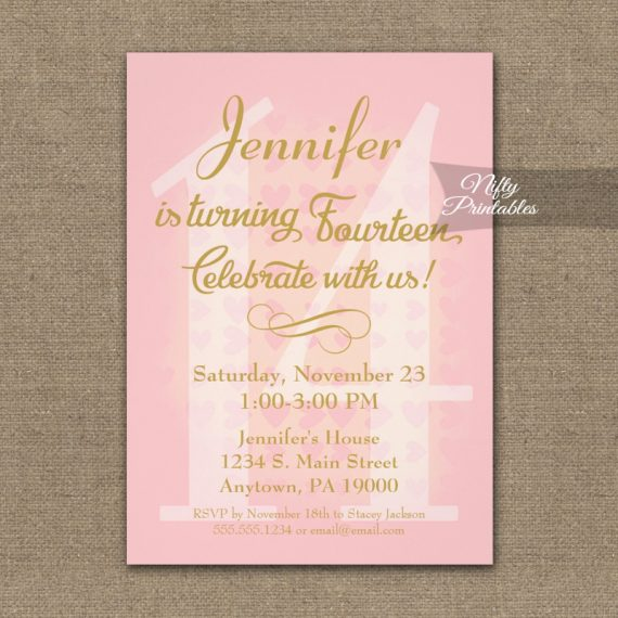 14th Birthday Invitation Pink Hearts PRINTED