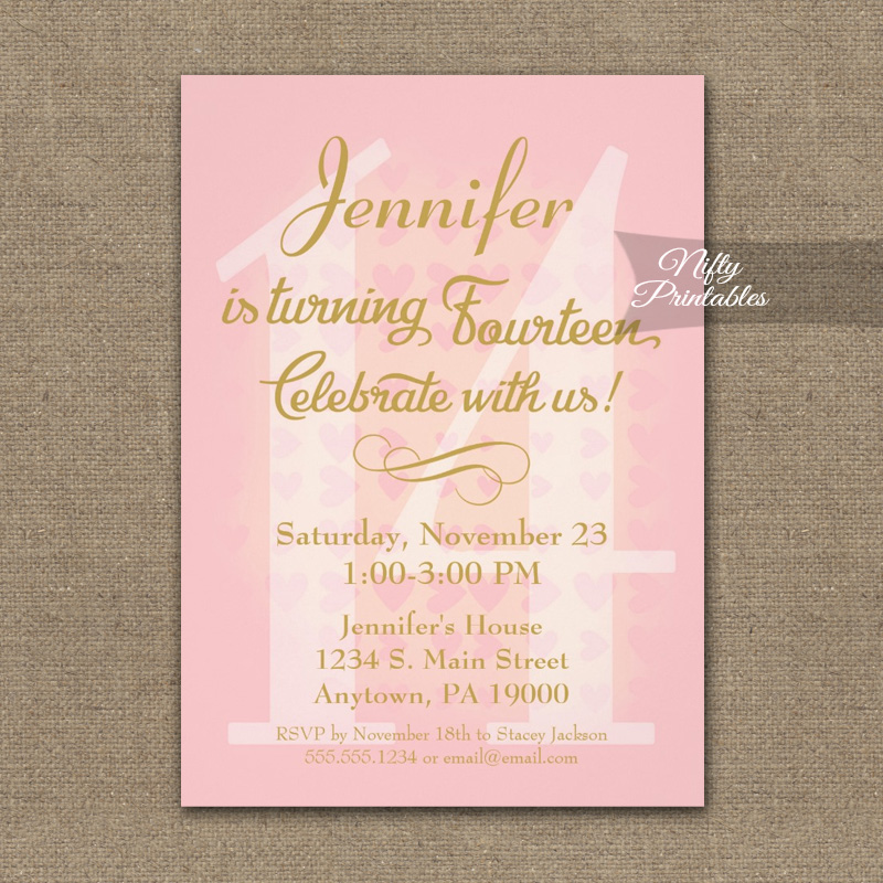 14th Birthday Invitation Pink Hearts Printed Nifty