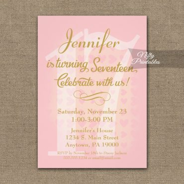 17th Birthday Invitation Pink Hearts PRINTED