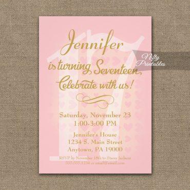 17th Birthday Invitations Pink Hearts PRINTED