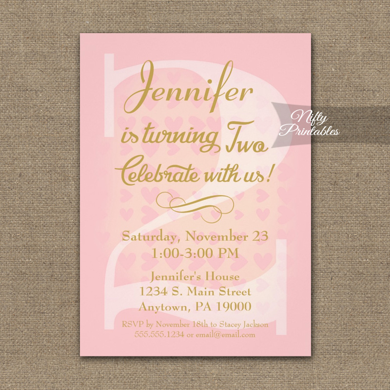 2nd Birthday Invitation Pink Hearts PRINTED