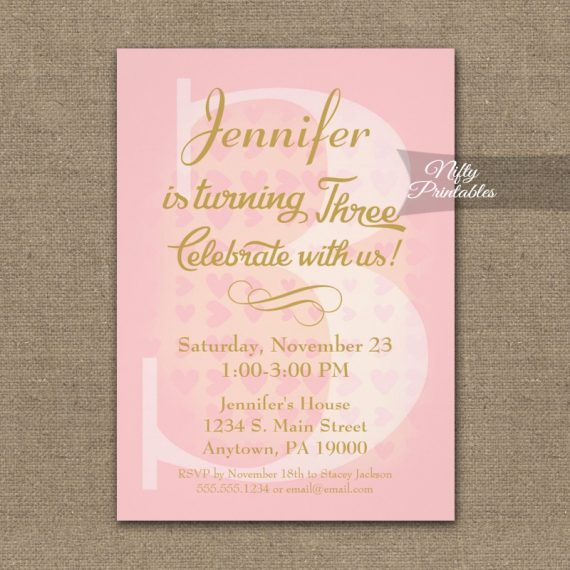 3rd Birthday Invitation Pink Hearts PRINTED