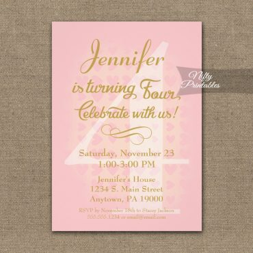 4th Birthday Invitation Pink Hearts PRINTED