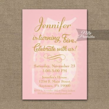 5th Birthday Invitation Pink Hearts PRINTED