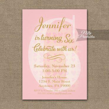 6th Birthday Invitation Pink Hearts PRINTED