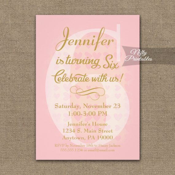 6th Birthday Invitation Pink Hearts PRINTED