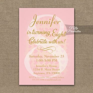 8th Birthday Invitation Pink Hearts PRINTED