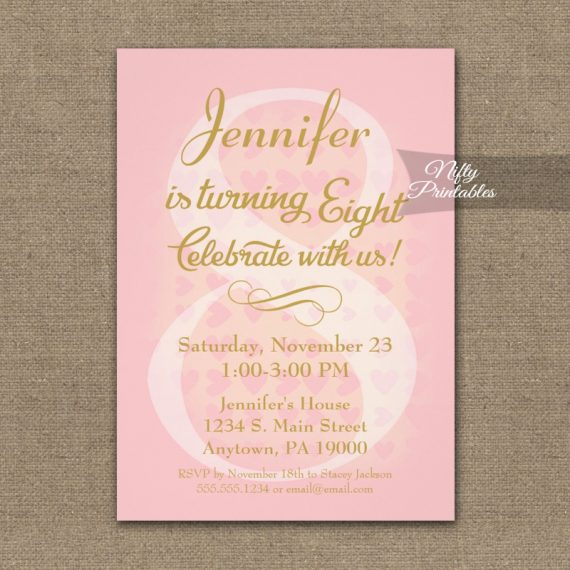 8th Birthday Invitation Pink Hearts PRINTED