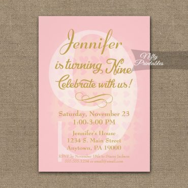 9th Birthday Invitation Pink Hearts PRINTED