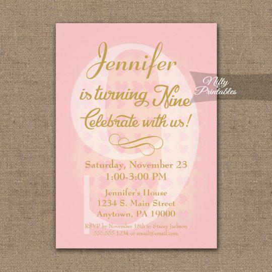 9th Birthday Invitations Pink Hearts PRINTED