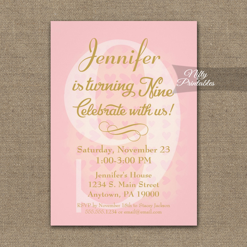 9th Birthday Invitation Pink Hearts PRINTED