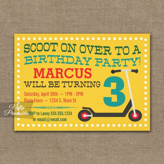 Scooter Birthday Invitation PRINTED