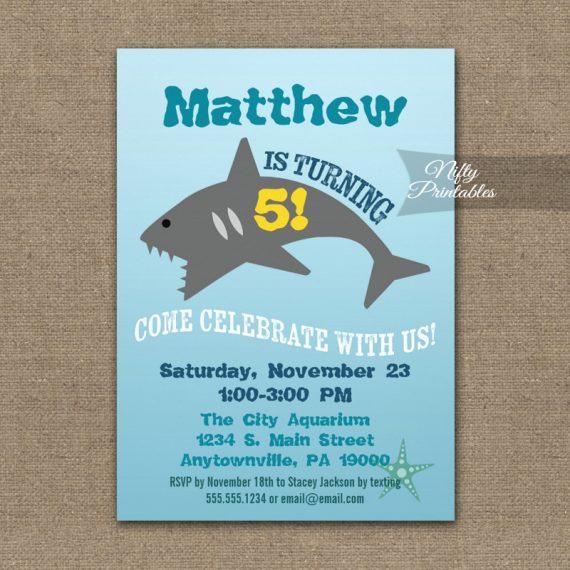 Shark Birthday Invitation PRINTED