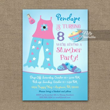 Slumber Party Birthday Invitation PRINTED
