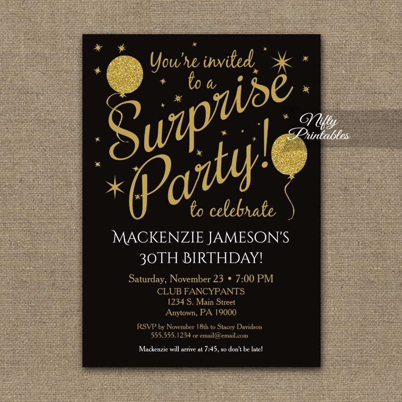 Surprise Party Gold Balloons Invitation PRINTED