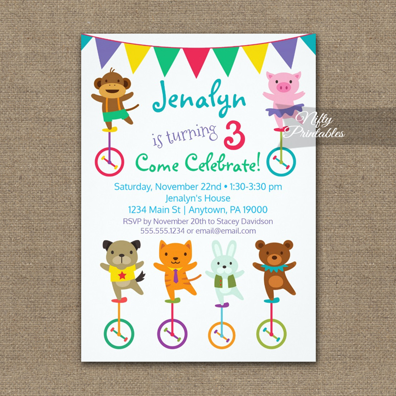 Cute Animals Birthday Invitation PRINTED