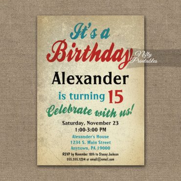 Boy Birthday Teen Tween Invitation PRINTED