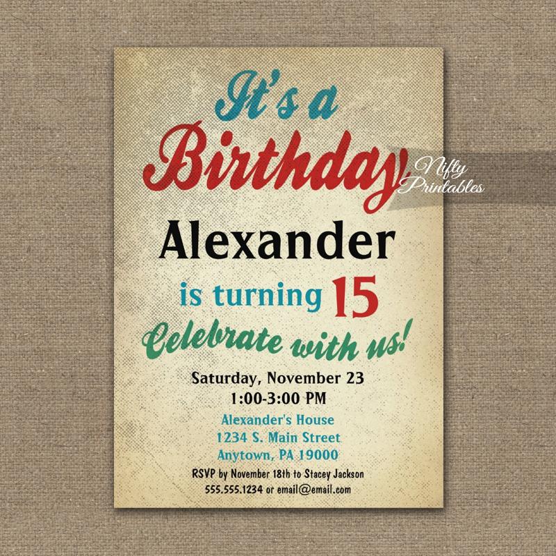 Boy Birthday Teen Tween Invitation PRINTED