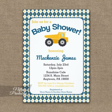 Construction Baby Shower Invitation PRINTED