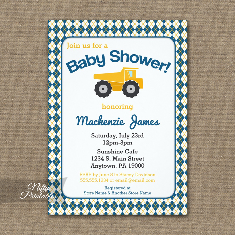 Construction Baby Shower Invitations PRINTED