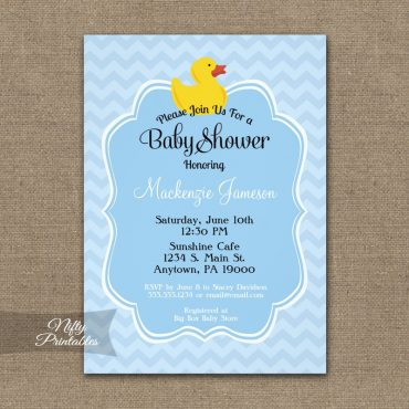 Blue Duck Boy Baby Shower Invitation PRINTED