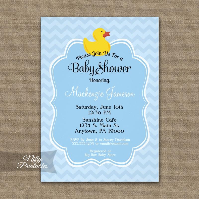 Blue Duck Boy Baby Shower Invitation PRINTED