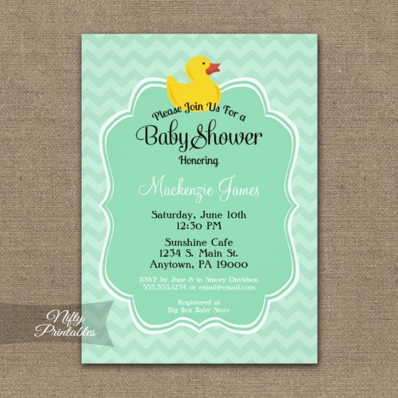 Mint Duck Baby Shower Invitation PRINTED
