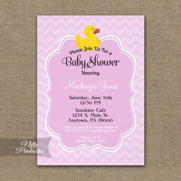 Pink Duck Girls Baby Shower Invitations PRINTED