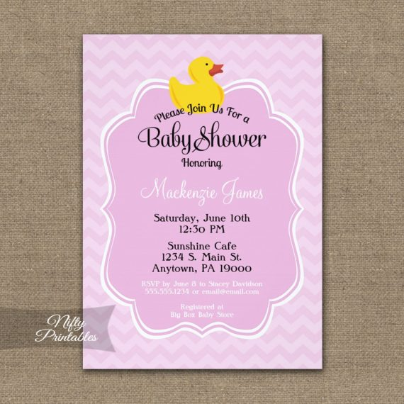 Pink Duck Girls Baby Shower Invitation PRINTED